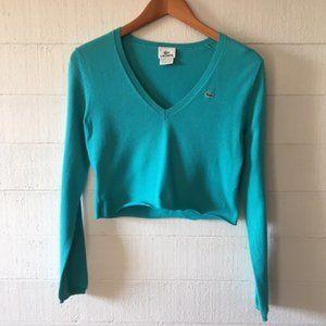 Lacoste Seafoam Green Long Sleeve Crop Sweater Sm